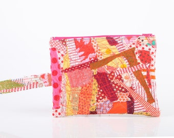 zipper pouch - Recycled Pencil Case With  handle - Crazy Patchwork ,Make Up Bag, Colorful scraps With Neon pink  zipper- Handmade