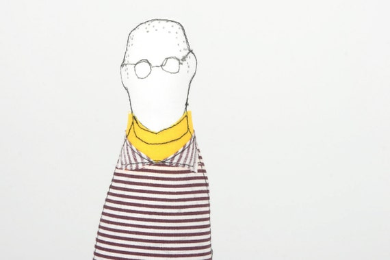 men - Father, son, brother or uncle handmad cloth doll - Wearing Eyeglasses Striped shirt , yellow turtleneck & brown corduroy pants