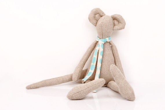 Natural Canvas Mouse  Wearing turquoise polka dots  scarf - Unique Eco Friendly handmade doll