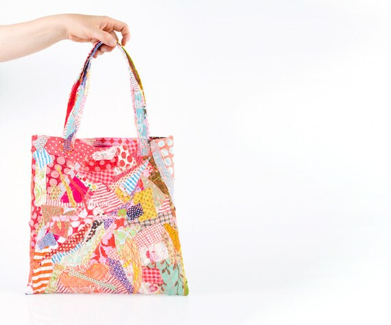 Tote Shoulder Bag , Crazy Patchwork , Recycled Colorful Cotton scraps from the studio  - all Handmade