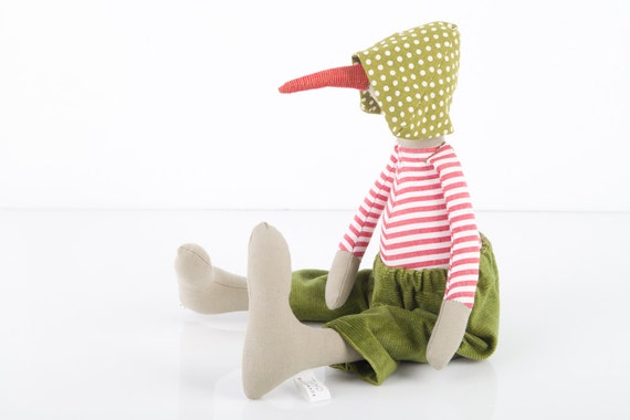 plush Bird Doll - Beige duck  Wearing White and red  stripes Shirt , Olive Green corduroy  pants  and dotted green  hat  - timo handmade