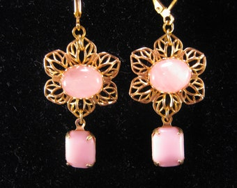 Upcycled Vintage Earrings, Pink Flower Earrings, Gold Filigree, Pink Quartz, Eco Friendly, Jennifer Jones, Opaque Glass, OOAK - Cotton Candy