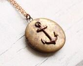 Anchor Locket ... Vintage Nautical Sailor Tattoo Mermaid Ocean Sea Shore