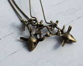 Baby Stag Earrings ... Vintage Deer Charms with Antique Patina