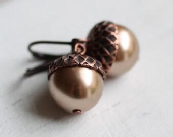 Acorn Earrings ...  Dusky Pink Swarovski Pearls with Antique Copper Oak Caps