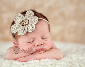 Baby headband, newborn headband, adult headband, child headband and photography prop The knit daisy sprinkle headband