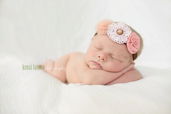 Newborn headbands Baby headband Adult headband Child headband Baby hairbow Photo prop Preemie headband Teen headband flower headband