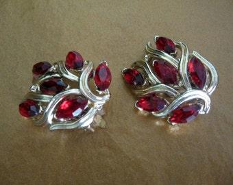Vintage Rhinestone Earrings - Red Rhinestone Earrings