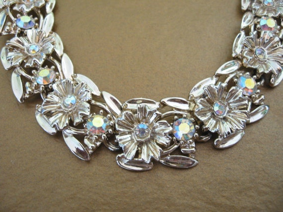 Resereved - Vintage Rhinestone Bracelet -  Ab Rhinestone Floral Bracelet
