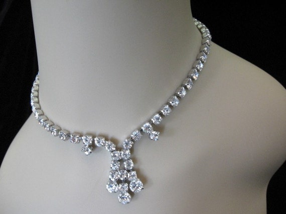 Vintage Rhinestone Necklace - Clear Rhinestone Choker Drop Necklace