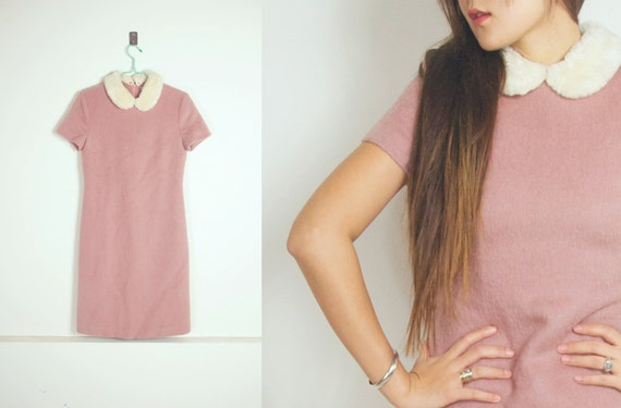 WoozWassVintage Korean 1960s  Faux Fur peter pan Pink Mohair wool Pencil Dress size S