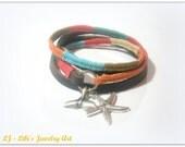 Leather bracelet, Colorful leather bracelet, nautical bracelet, whale tail bracelet, starfish pendant, wrapped bracelet, silver pendant