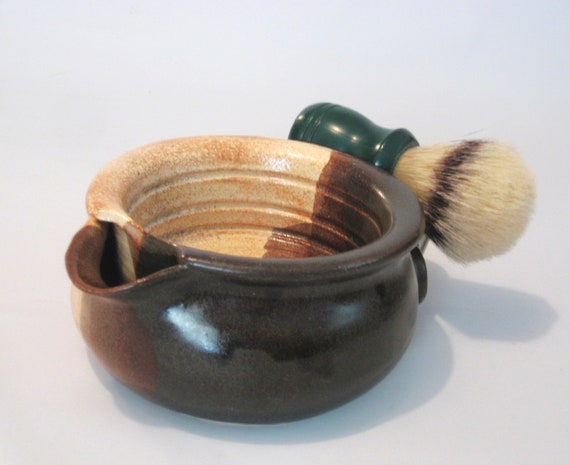 BIG Shaving Scuttle Mug Cup Bowl For Comfort Hot Wet Shave - Handmade Pottery Glazed Glossy walnut Brown & Rustc Beige