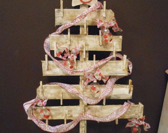 Christmas Tree Shaped Christmas Card Holder over 4 feet tall or Advent Calendar Made from old fence pickets