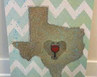 Austin Texas Custom Canvas with Red Wine glass over Austin reserved for Cami