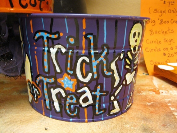 Jez4U Custom Halloween Bucket for Festive Decor, it could be your Trick or Treat Bucket, or a Candy Bucket for Trick or Treaters, too