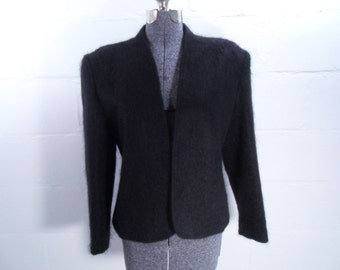 Sale 25% Off Use Coupon Code SAVE25 // Classic Jacket Black Mohair size 14 Vintage 80s