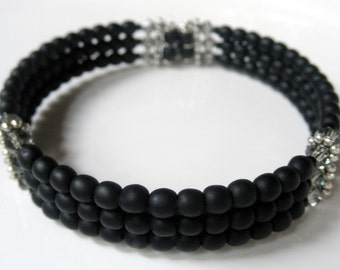 Black Cuff Bracelet with Swarovski Crystals and Frosted Beads - Black Memory Wire Wrap Around Coil Bracelet