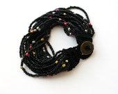 Black beaded crochet bracelet