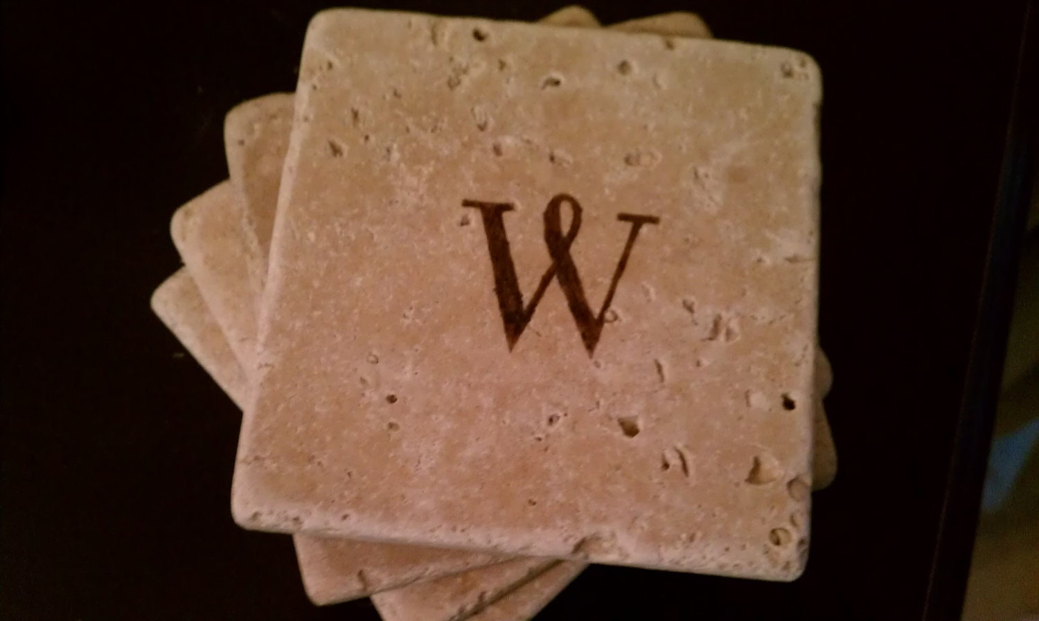 Custom coaster drink coasters 4 x 4 tumbled stone for Best coasters for sweaty drinks