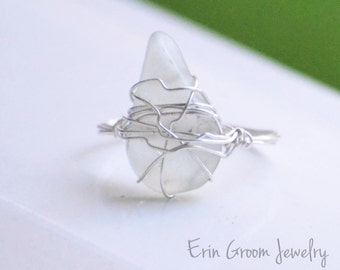 Clear Seaglass Simply Wrapped Silver Ring