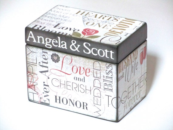 Reserved for Linda - Wedding Recipe Box for Bridal Shower - 4x6 inch wood recipe card box - Personalized