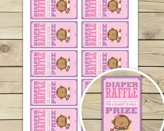 Girl Monkey Baby Shower Diaper Raffle Ticket Printable - Girl Baby Shower Games - Instant Download - Girl Baby Shower Diaper Raffle Cards