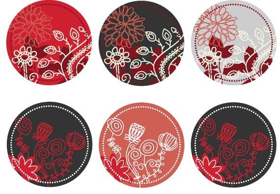 Digitial Pendant Artwork 1.5 Inch Circle -Red Black Grey graphic flowers