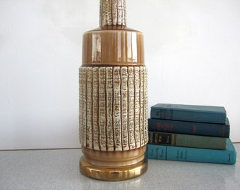 Mid Century Table Lamp Metallic Gold Spatter Texture Caramel Mocha Brown Ceramic Art Pottery Home Decor