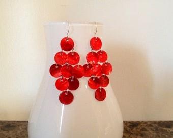 Fiery Red Mussel Shell Mermaid Earrings