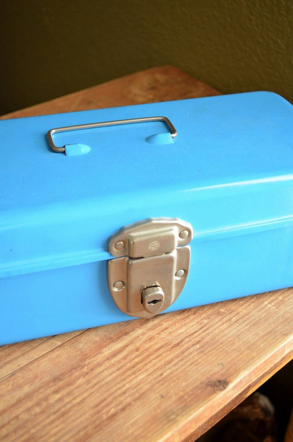 Vintage Blue Tool Box - Craft Organizer with Handle - Blue Metal Steel