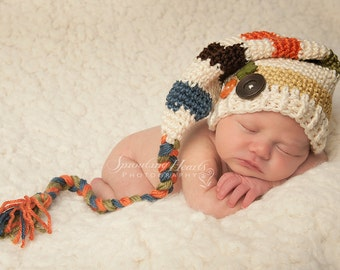 Crochet Elf Hat in Autumn Colors