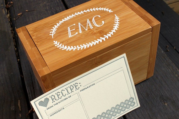Monagram Bamboo Recipe Box with Letterpress Recipe Cards (Reserved for H.G.)