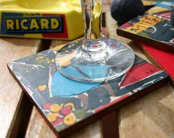 """Decoupaged Reclaimed Wooden Coasters 1950s """"French Market"""" Set of Six"""