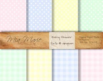 INSTANT DOWNLOAD - Digital Papers Scrapbooking Backgrounds Swiss Polka Dots, Gingham, Pastel, Pink, Blue, Yellow, Green Baby Printable