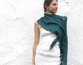 Girlfriend Gift, Wool Scarf Wrap, Blanket Shawl, Oversized Shawl, Boho Accessories, Festival Scarf, Teal Large Shawl, Cozy Wrap, Teal Scarf