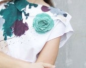 Mint rose brooch felted pale green flower wedding bridesmaid spring fashion neutral