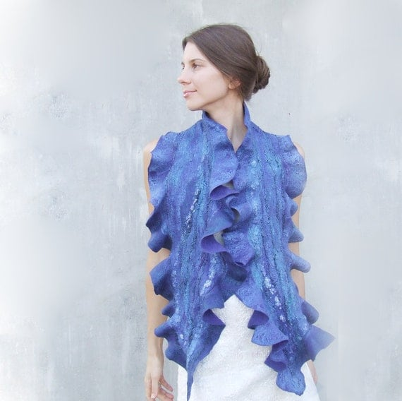 Ruffles royal blue scarf felting wool luxury neon oht winter wedding bridesmaid idea for her fall autumn fashion