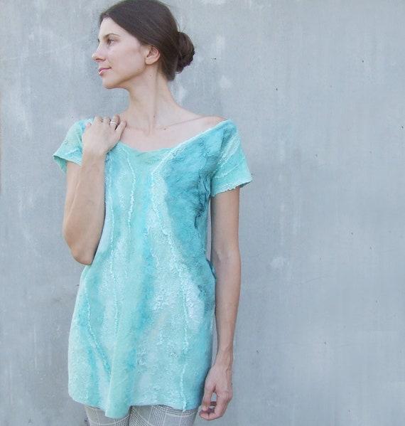 Mint felted wool tunic mini dress, party boho ultramarine wool dress fall autumn fashion, oht felted dress size S M small medium