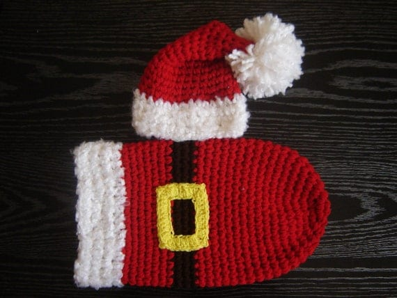 PDF Instant Download Easy Crochet Pattern No 262 Santa's Set Hat and Cocoon Chunky yarn photo prop sizes preemie, newborn. 0-3, 3-6 months