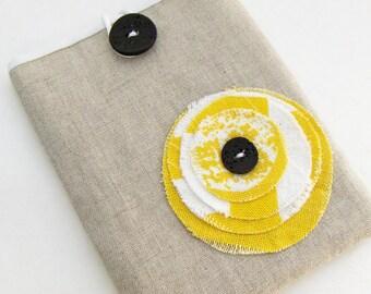 Passport Cover / Passport Case / Yellow Blossom and Linen