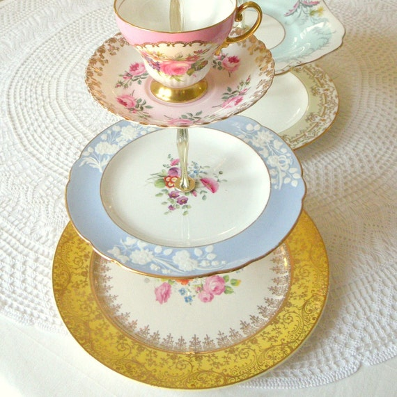 Alice Likes Periwinkle, Bright Colorful Cupcake Stand, 3 Tiered Display of Vintage China Plates for Wedding, High Tea or Birthday