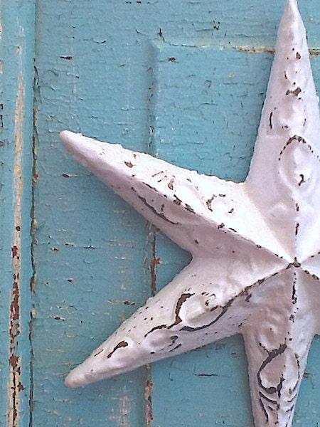 shabby chic white winter white star metal wall decorcast
