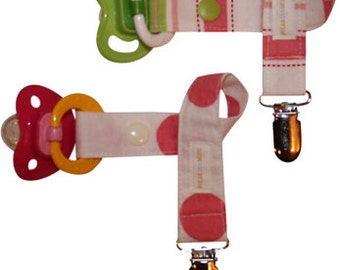 Girls Pacifier Clip - Set of 2 - Pink & Green Stripes and Polka Dots - FREE Shipping