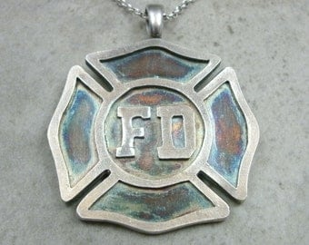 Fire Fighter Pendant in Fine Silver - Maltese Cross - Customizable Necklace - Fire Department - Firemen