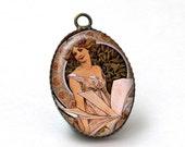 2 pcs Fairy Alphonse Mucha Pendant Charm, Brass Art Nouveau Pendant Charm, 18x25mm, 25x18mm, A38-09-355