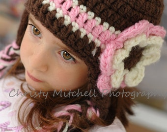 Earflap Hat with Chunky Flower--Brown, Pink, and Ivory--Any Size