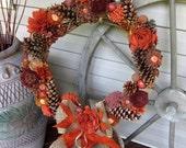 Autumn / fall grapevine fabric flowers wreath