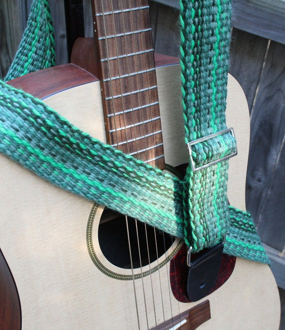 Green Woven Guitar Strap - Handwoven Cloth Adjustable Strap