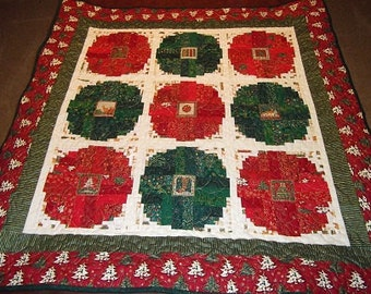 Christmas Ornament Log Cabin Patchwork Quilt